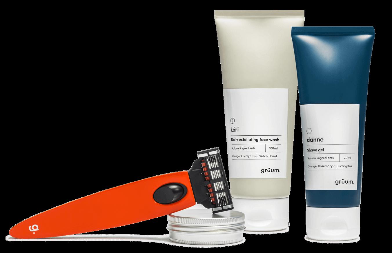 shave gel, face wash, beard wax and premium razor