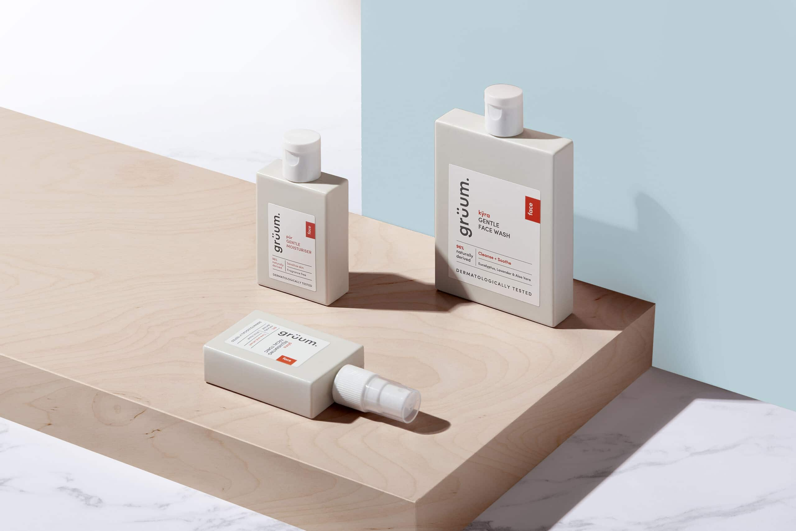 Gruum skincar trio product image with kyra face wash, pur gentle moisturiser and gosta facial tonic