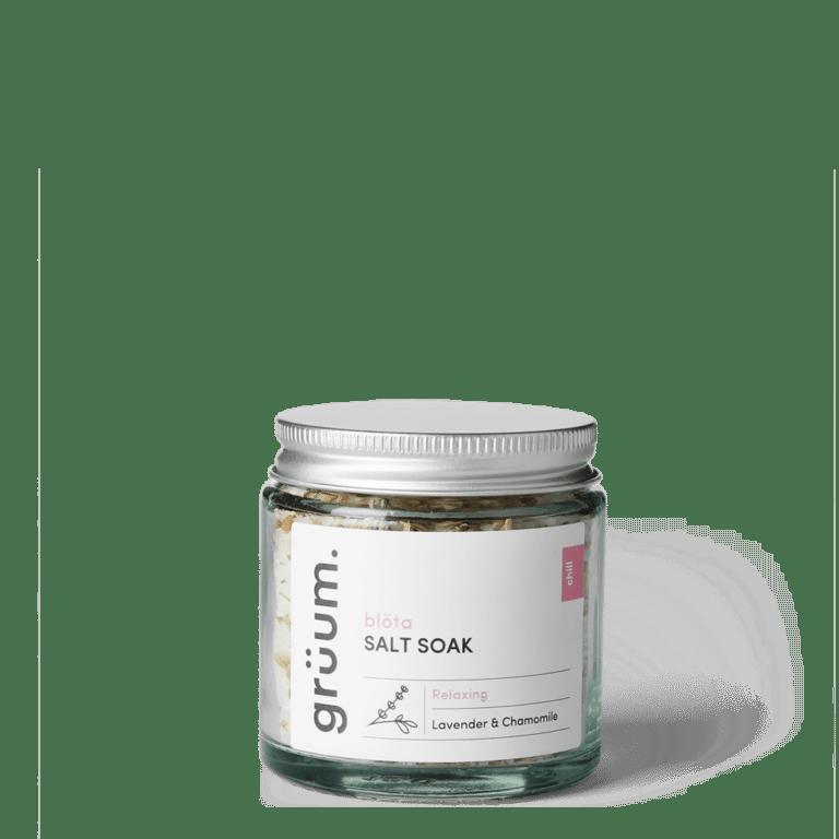 Bolta Rose Lavender & Chamomile salt soak in a jar