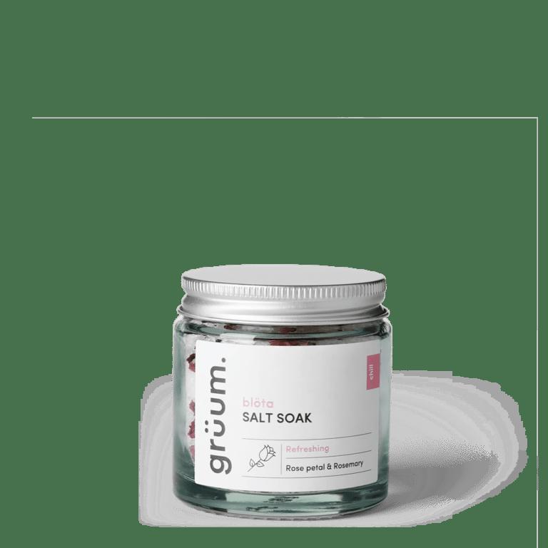 Bolta Rose Petal & Rosemary salt soak in a jar