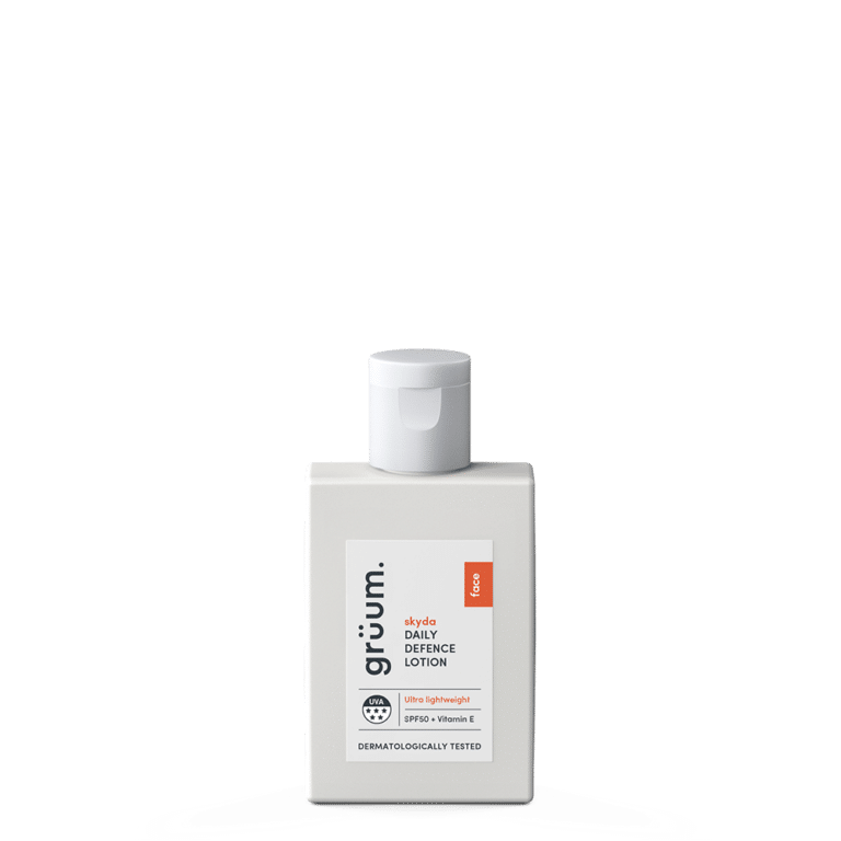 Grey bottle of skyda daily defence lotion